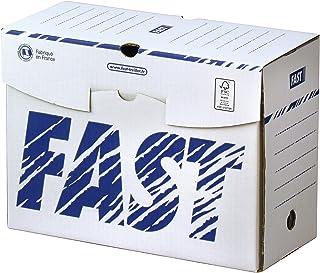 Fast Lot de 10 Boîtes Archives en Carton Dos 15cm Montage Manuel Blanc/Bleu