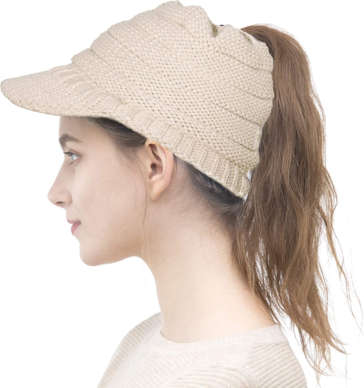 ELLEWIN Women Ponytail Mess Bun Beanie Tail Hat Winter Solid Ribbed Hat