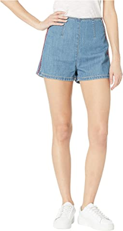 Denim Multicolor Embroidered Shorts