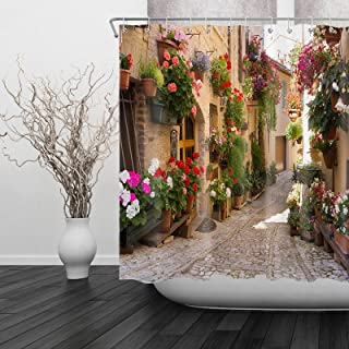Italian Stall Shower Curtain, Street View of a Small Renaissance Town , Waterproof Fabric Shower Curtains for Bathroom wit...