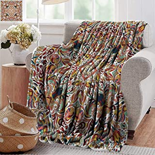 PearlRolan Faux Fur Throw Blanket,Batik,Floral Persian Lines Middle Eastern Bouquet Inspired Kitsch Bohemian Artsy Print,Multicolor,Soft Fabric for Couch Sofa Easy Care 50