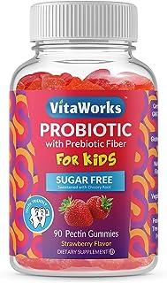 VitaWorks Sugar Free Probiotics with Prebiotics Fiber for Kids – Great Tasting Natural Flavor Gummy Supplement – Keto Frie...