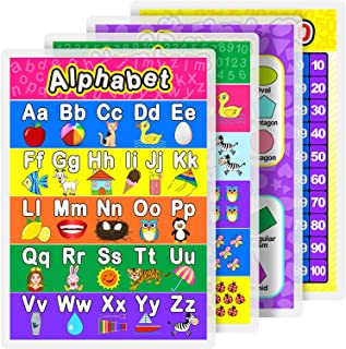 Laminated Preschool Poster for Toddlers and Kid, 4 Pieces Full Laminated Posters Alphabet, Number 1-10, Number 1-100 and 2D/3D Shapers for Nursery Homeschool Kindergarten Classroom, 16.9 x 11.9 Inch