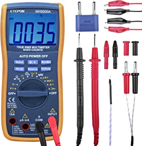 Multimeter  ETEPON TRMS 6000 Counts Digital Ohmmeters Manual and Auto Ranging  Measures Voltage  Current  Resistance  Continuity  Capacitance  Frequency  Test Diodes  Transistors  Temperature