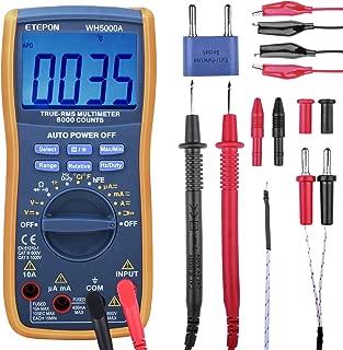 ETEPON Digital Multimeter True RMS Auto Raging Voltage Tester, Measures, Voltage, Current, Resistance, Continuity, Frequency, Capacitance, Temperature, Test Diodes,Transistors(6000 Counts Multimeter)