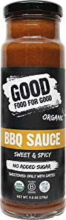 Good Food For Good Organic Sweet and Spicy BBQ Sauce, No Added Sugar Keto Sauce, Refined Sugarfree; Vegan/Paleo/Non GMO/Gluten Free/Low Salt/Soy Free/Corn Free; Naturally Sweetened with Dates (9.5oz)