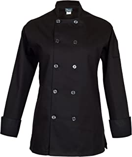 Fame Women's Long Sleeve Chef Coat (Small, Black)