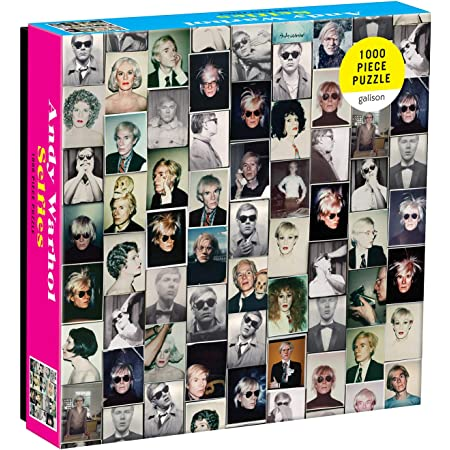 """Galison Andy Warhol Selfies Puzzle, 1,000 Pieces, 20"""" x 27'' – Features a Collage of Artist's Famous Self-Portrait Polaroids - Thick, Sturdy Pieces – Challenging, Makes a Great Gift, Multicolor, 1000"""
