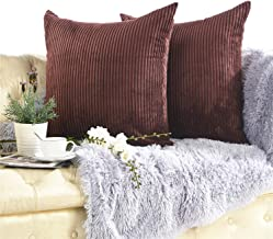 KINBEDY Cozyholy Soft Striped Velvet Corduroy Cushion Covers Soild Square Decorative Throw Toss Cushion Cases Pillowcases for Bed Sofa Couch Car, Pack of 2 (24x24 Inch, Brown)