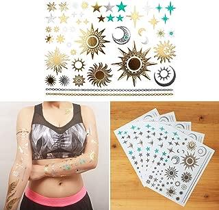 COKOHAPPY 5 Sheets Metallic Temporary Tattoo 150+ Sun Moon Star Gold Silver Shine Beach Armband