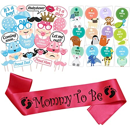 WOBBOX Baby Shower Combo of Photo Booth Party Props, Sash and Milestone Cards - Combo QN