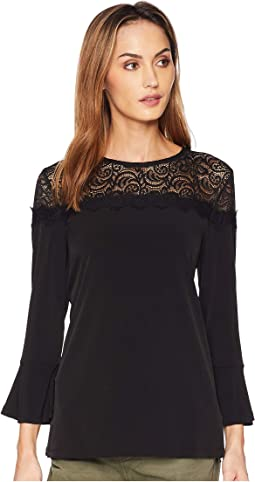 3/4 Sleeve Lace Yoke Top