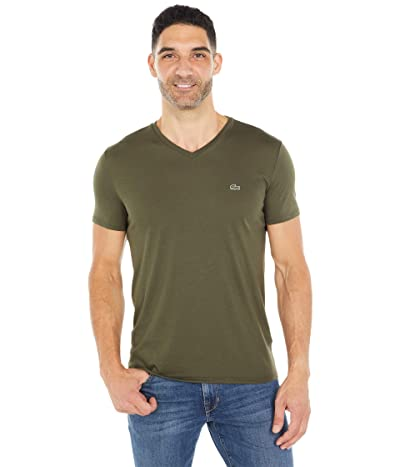 Lacoste Short Sleeve V-Neck Pima Jersey Tee (Baobab Green) Men