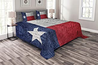 Lunarable Western Coverlet Set Queen Size, Texas State Flag Painted on Crocodile Snake Skin Patriotic Emblem Image, Decorative Quilted 3 Piece Bedspread Set with 2 Pillow Shams, Ruby Dark Blue White