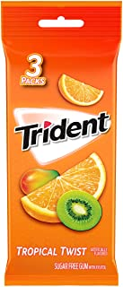 Trident Tropical Twist Sugar Free Gum, 3 Packs of 14 Pieces (42 Total Pieces)