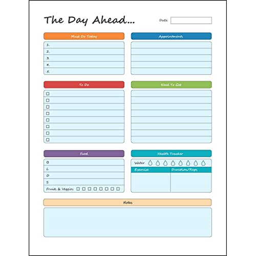 """Daily Planner – To Do Pad 8.5"""" x 11"""" Planning Pad – Tear Off Sheets – Day Planner Notepad - Get Organized Today!"""