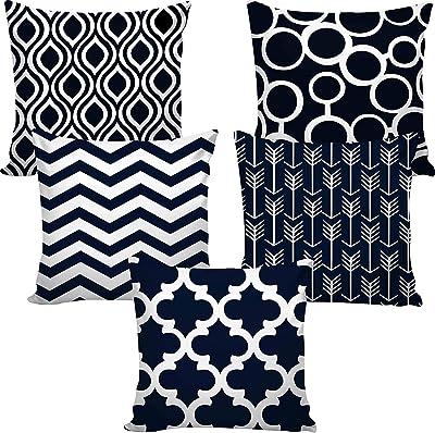 KICA Jute/Polyester Decorative Throw Pillow/Cushion Covers (Multicolour, 16 x 16 inch) Set of 5-KICA-CC-35