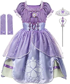 aibeiboutique Girls' Princess Dress up Costume Cosplay Fancy Party Clothes with Tiara, Wand, Gloves
