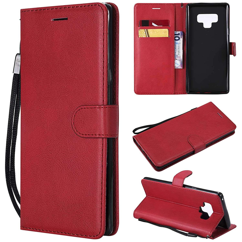 Galaxy Note 9 ケース手帳型 OMATENTI レザー 革 薄型 手帳型カバー カード入れ スタンド機能 サムスン Galaxy Note 9 おしゃれ 手帳ケース (3-レッド)
