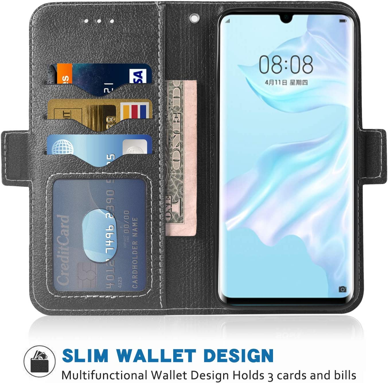 Phone Case for Huawei P30 Pro Folio Flip Wallet Case,PU Leather Credit Card Holder Slots Heavy Duty Full Body Protection Kickstand Protective Phone Cover for Hawaii Hwauei P30pro P 30 30pro Black