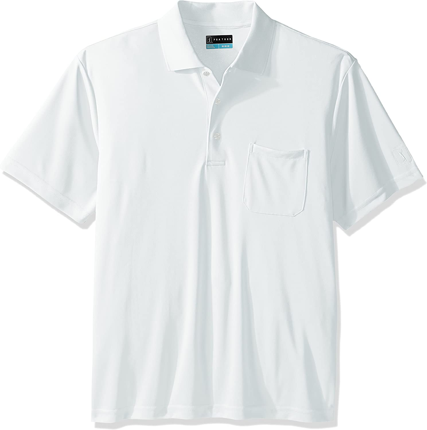 PGA TOUR Men's Driflux Solid Pocketed Polo, Bright White, Large