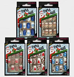 Vivace 5Pack Press On 12Tips Christmas Novelty Nails, Sticker Nails (Tree)