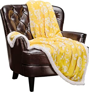 Chanasya Elegant Rose Fleece Reversible Sherpa Throw Blanket - Elegant Floral Print Velvet Plush Blanket for Bedroom Living Room and Couch (50x65 Inches) Yellow