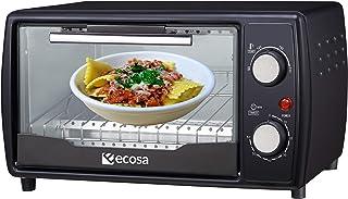 Mini four 1000 W 10 litres Avec plaque de cuisson et grille de cuisson Four à pizza 90-230°C Minuterie de 60 minutes Plaq...