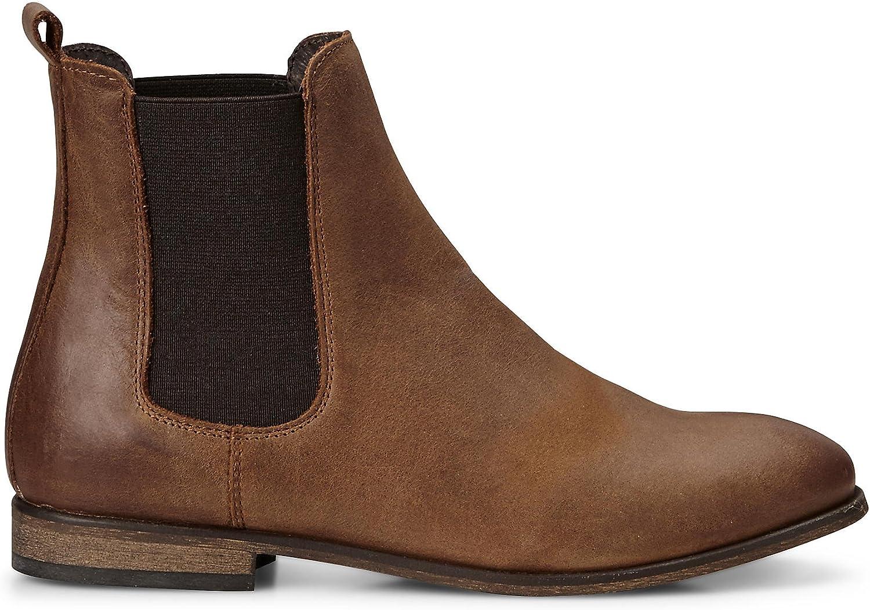 Cox Damen Damen Chelsea-Stiefel in Braun aus Leder, Stiefelette mit Stretch-Einsatz