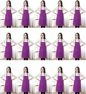 TSD STORY Purple Color Plain Bib Aprons Bulk for Women Men Adult-Unisex Aprons with 2 Front Pockets,Size24 X28 Kitchen Cooking Server Painting Aprons(Purple-15PCS)