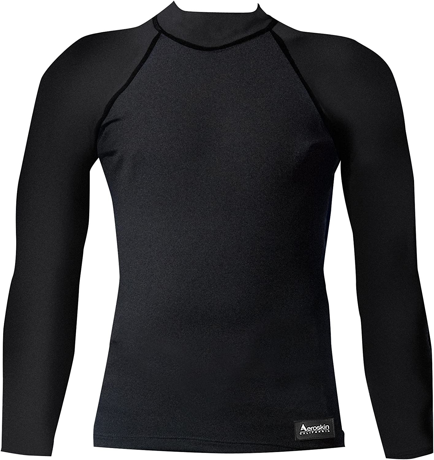Aeroskin Nylon Long Sleeve Rash Guard with color Accent (Black, XXLarge)
