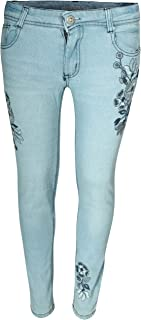 dollhouse Girls' Denim Jeans with Embroidered Flower Designs