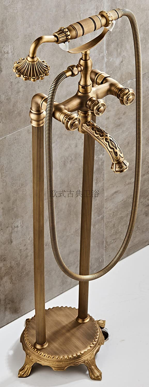MangeooNeuen Stil geschnitzte Antik Kupfer Badewanne, Dusche Dusche, Ausführung, Badewanne Armatur, runden Griff