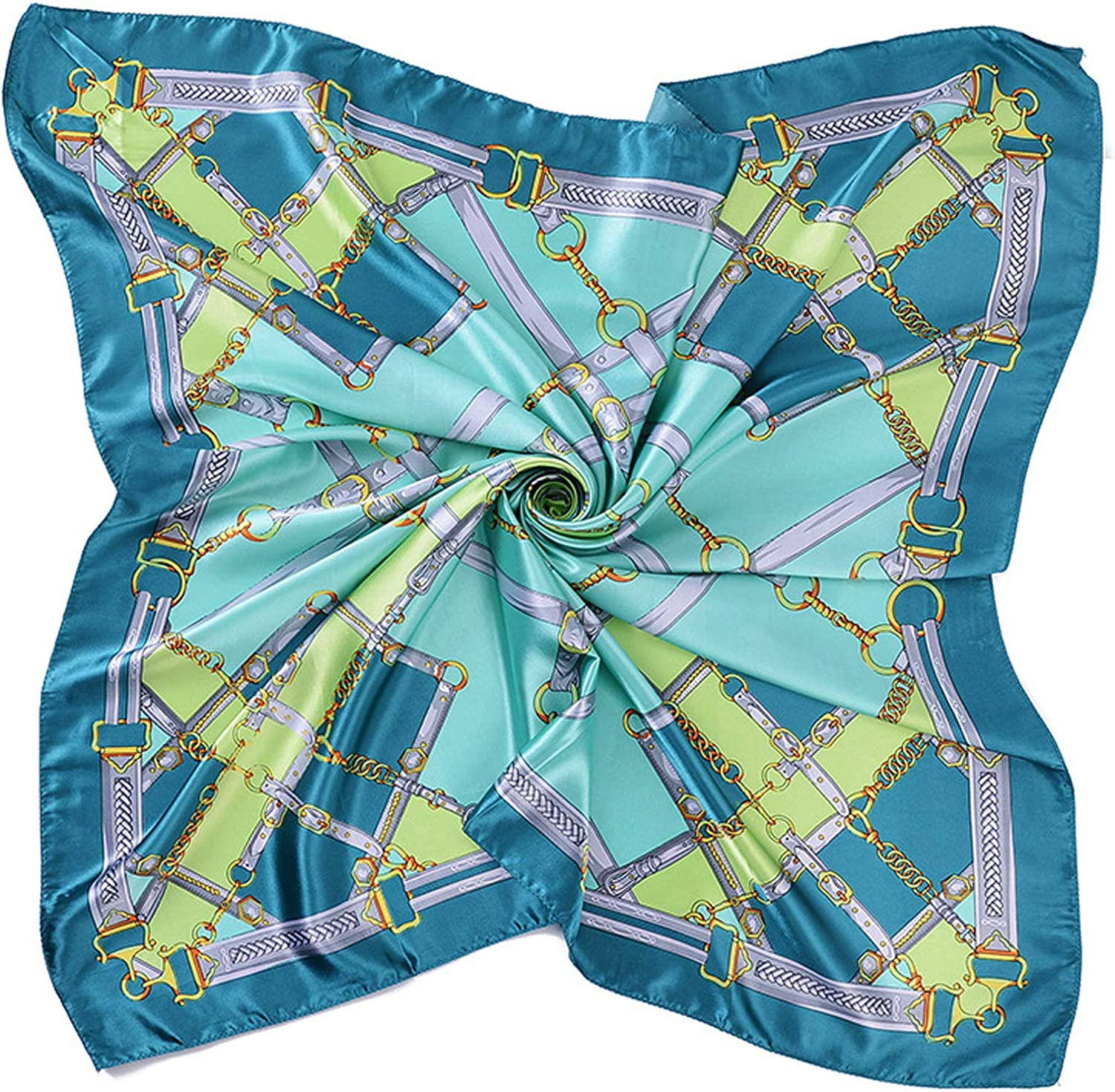 Silk Texture Scarf Fashion Printing Pattern Square Satin Headband Breathable Lightweight Multiapplication for Women