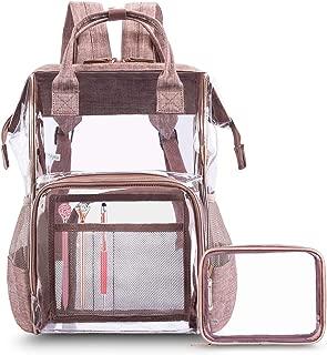 CoolBELL Clear Backpack Transparent Bag Bookbag Stadium Bag (Rose Gold)