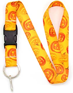 Buttonsmith Pumpkin Premium Lanyard - with Buckle and Flat Ring - Made in The USA