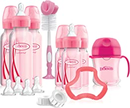 Dr. Brown's Options+ Baby Bottles Pink Gift Set with Silicone Teether, Pink Sippy..