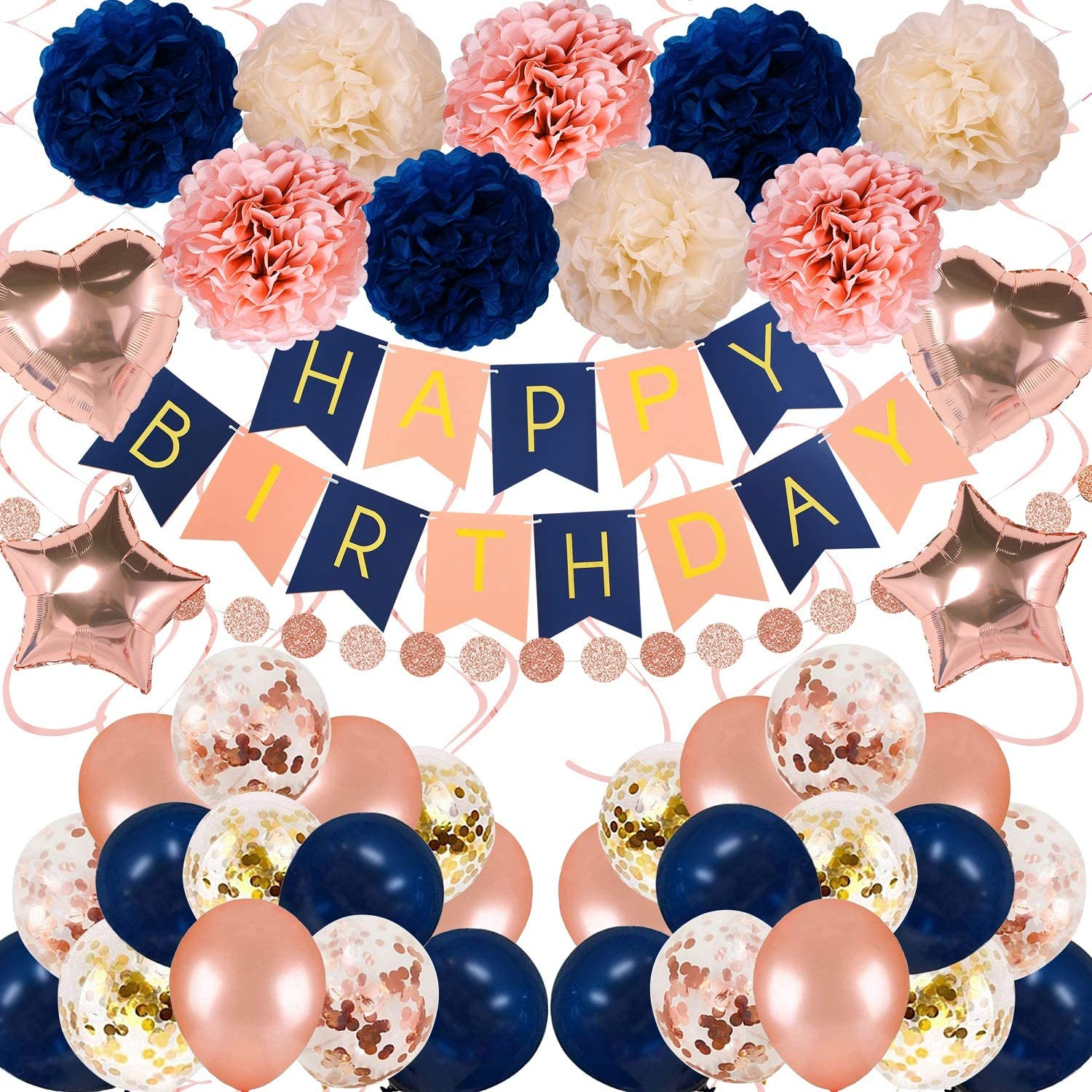 Navy Rose Gold Birthday Decorations 61 Pieces balloon kit with foil Balloons,Flower Pompoms,Round String Suit for 1st 16th 21th 25th 30th 35th 40th 50th 60th, Women Grils Navy Rose gold Birthday Party