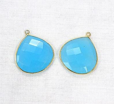 Sky Blue Chalcedony 22mm Heart Briolette 925 Sterling Silver Plated Bezel Pendant