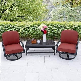 Lakeview Outdoor Designs Villa Flora 3 Piece Cast Aluminum Patio Conversation Set W/Swivel Rockers, Coffee Table & Sunbrella Canvas Henna Cushions