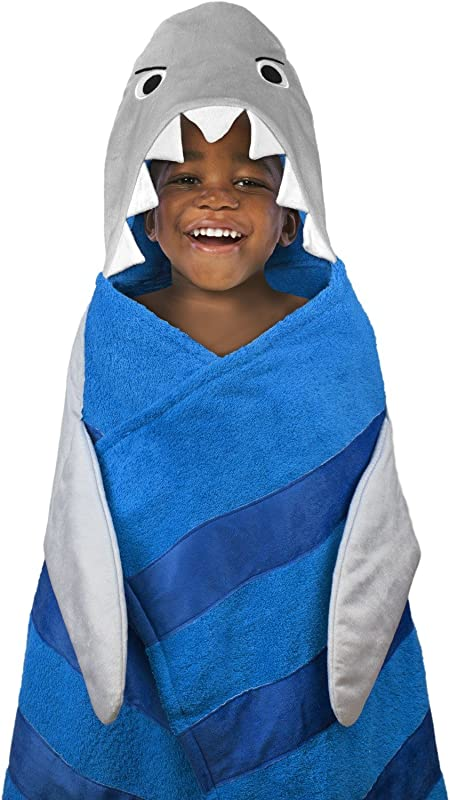 Hooded Towel For Kids Oversize Cotton Character Hood Towel Makes Getting Dry Fun Ideal Beach Towels For Toddlers Small Children Use At The Pool Or Bath Time 26 X 45 Grey Shark