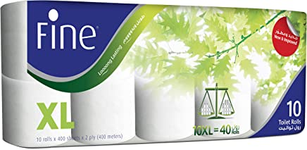 Fine Extra Long Toilet Rolls - Pack of 10 Rolls (10 x 400 Sheets x 2 Ply)