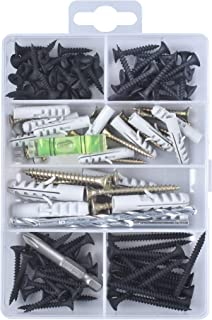 Wall-Plug & Mounting Anchor & Screw Assortment Coarse Black. Sheetrock Wall Anchors & Screws Drywall Hanging Heavy Duty Pictures TV Baby Furniture Household DIY Toggle Bolt Maintenance Tools