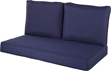 Quality Outdoor Living 29-NV02LV Loveseat Cushion, 46 x 26 3PC, Navy
