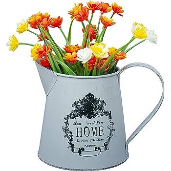 Stile Francese brocca Rustica HyFanStr Vaso in Metallo Shabby Chic per Fiori Stile Vintage brocca in Latta per la Decorazione della casa Large Can