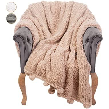 GREEN ORANGE Throw Blanket for Couch - 50x60, Beige with Pom Poms - Fuzzy, Fluffy, Plush, Soft, Cozy, Warm Fleece Cover - Perfect for Bed, Sofa