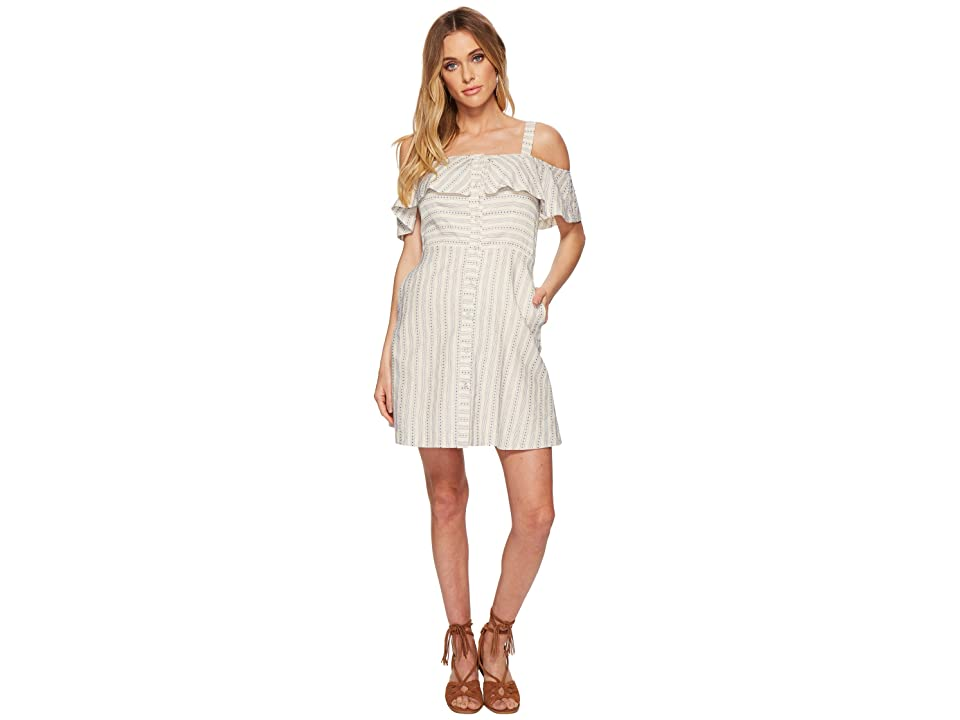 J.O.A. Button Down Cold Shoulder Dress (Ivory/Blue) Women