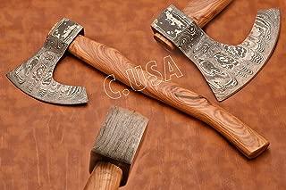 E USA 268 Handmade Damascus Steel Blade, Viking Axe, Hatchet Axe