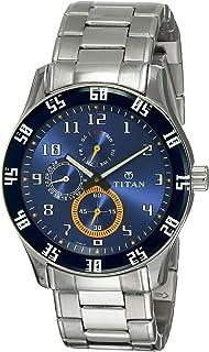ساعة Titan للرجال معاصرة كرونوغرافي/متعددة الوظائف، ملابس عمل، ذهبي/فضي معدن/جلدي، كريستال معدني، كوارتز تناظرية مقاومة للماء