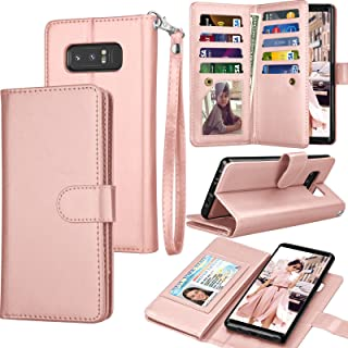 Tekcoo Compatible for Galaxy Note 8 Wallet Case/Samsung Galaxy Note 8 PU Leather Case, Luxury ID Credit Card Slots Holder Carrying Flip Cover [Detachable Magnetic Hard Case] Kickstand - Rose Gold